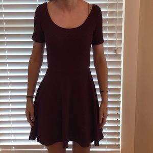 H&M burgundy skater dress